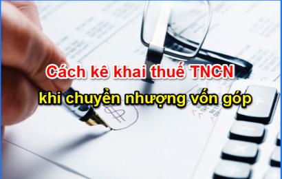 Cách tính thuế TNCN từ chuyển nhượng vốn