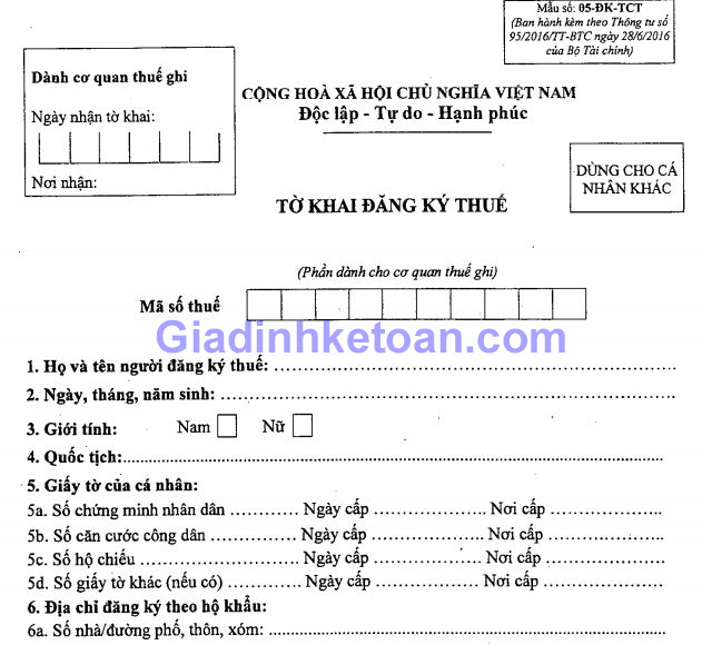 Tờ khai đăng ký thuế