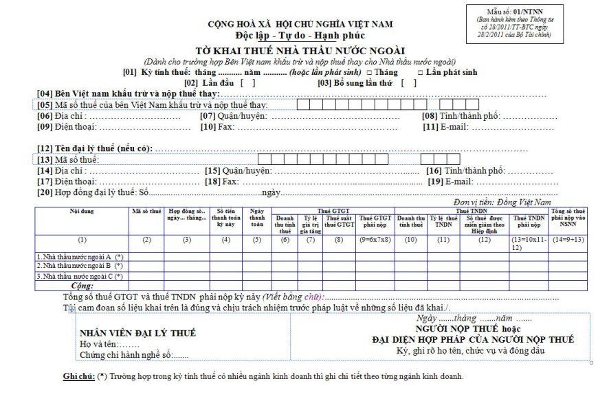 Mẫu tờ khai thuế nhà thầu 01/TNNN