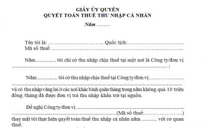 Mẫu giấy ủy quyền quyết toán thuế TNCN mới nhất