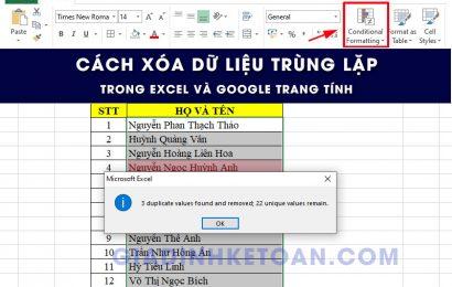 Cách xóa dữ liệu trùng nhau trong excel và google trang tính