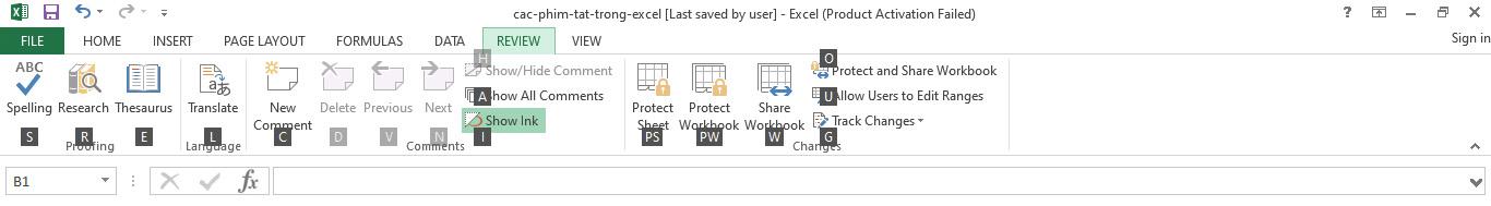 Các phím tắt Excel