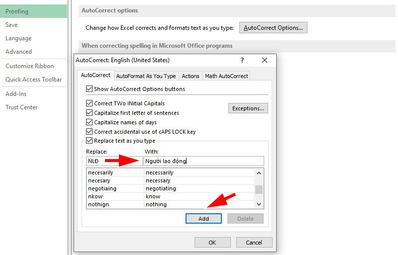 Cách tạo phím tắt trong Excel