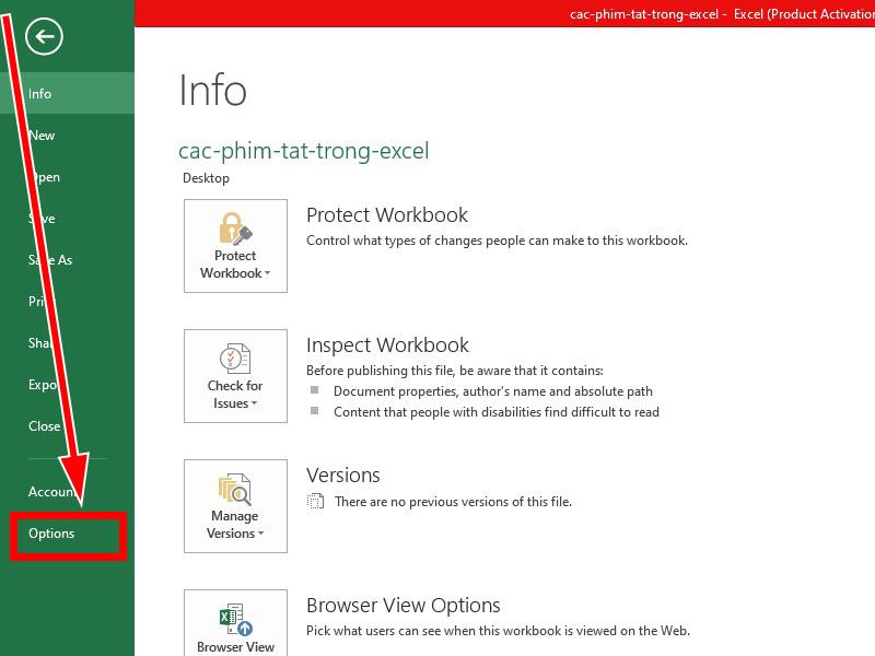 Tạo phím tắt trong Excel